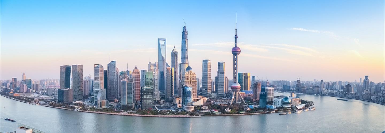 shanghai skyline panoramic view at dusk China